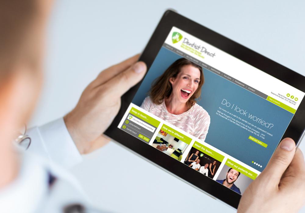 Dentist Direct website on iPad