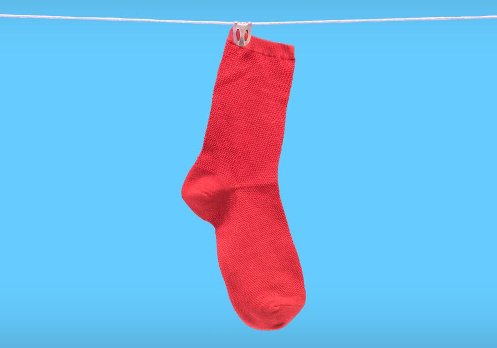 Klamt sock on washing line