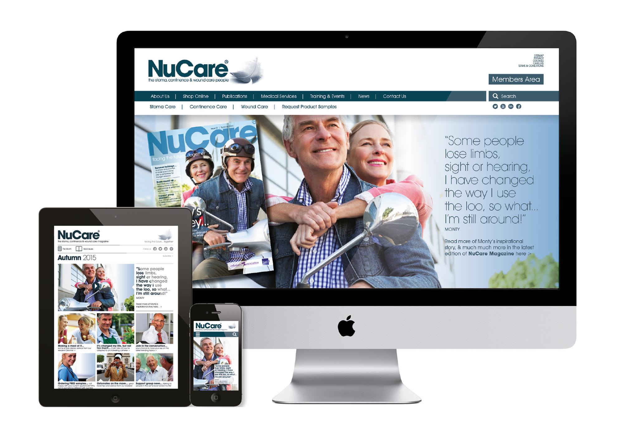 NuCare website design on desktop