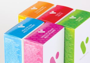 Close up of product packaging for V health care vitamin products