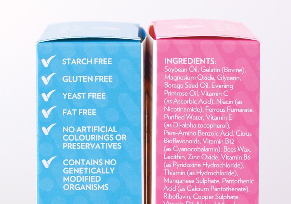 Key ingredients in vitamins shown on product packaging