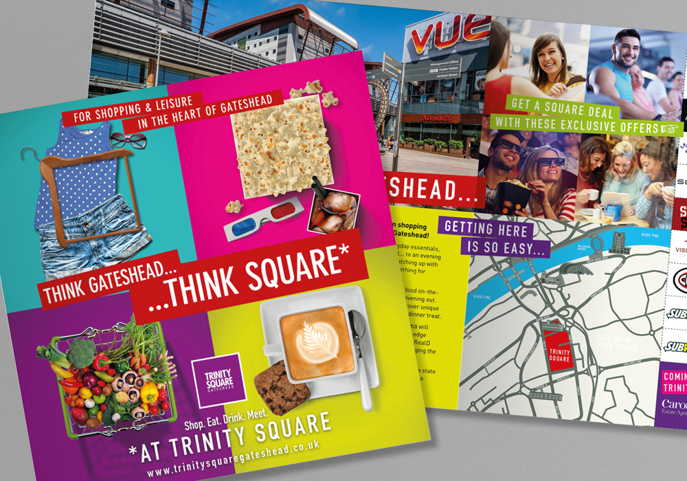 Marketing material promoting Trinity Square shopping centre Gateshead