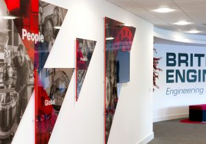 British Engines reception wall with new monotone graphics applied